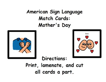 American Sign Language Match Cards:  Mother's Day (Gen. Ed
