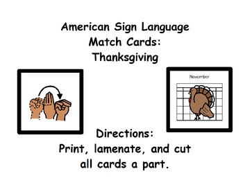 American Sign Language Match Cards:  Thanksgiving (Gen. Ed