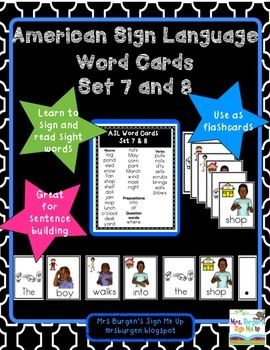 American Sign Language Word Cards Set 7 and 8
