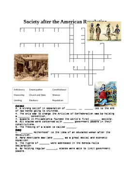 American Society after Revolution Crossword
