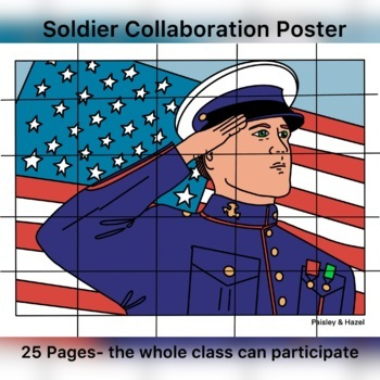 Veterans Day- American Soldier Collaboration Coloring Poster