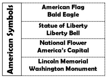 American Symbols Foldable
