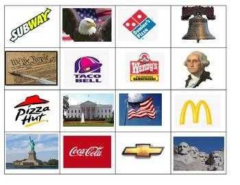 American Symbols Freedom Week Constitution ESL sorting cut