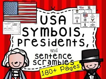 American Symbols and Sentence Scramble (Plus Washington an