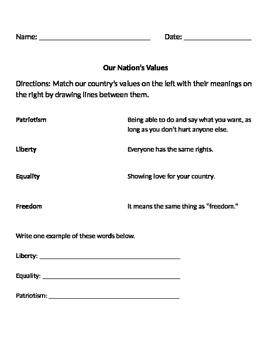 American/US National Values Social Studies Worksheet