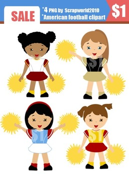 American football cheerleaders clip art set 5png