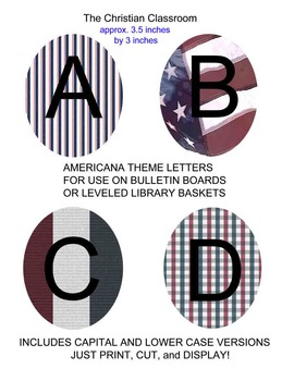 Americana Theme Bulletin Board Letters Red White Blue and