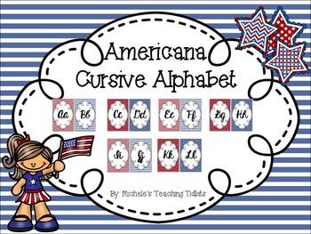 Americana Theme Cursive Alphabet Line