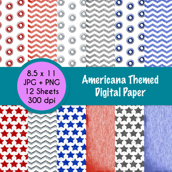 Americana Themed Digital Paper