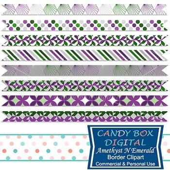 Amethyst N Emerald Ribbon Border Clip Art, Purple, Green
