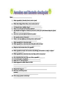 Amoebas and Bacteria Assessment Page