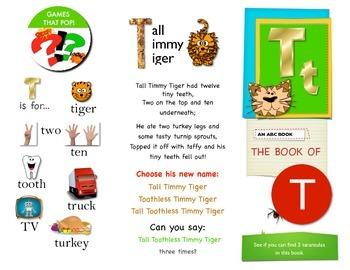 First Sound Fluency - interactive booklet for letter T or