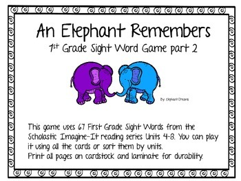 An Elephant Remembers a 1st Grade Sight Word Game part 2