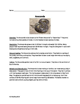 Anaconda - facts info review article questions vocabulary
