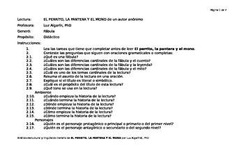 Análisis estructural y lingüístico-literario de La perrita