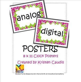 Analog Digital Clock Posters for Math