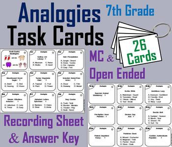 Analogies Task Cards: Analogies 7th Grade Vocabulary Games