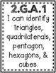 """""""Analyze and Describe Shapes"""" Guided Math I Can Cards"""