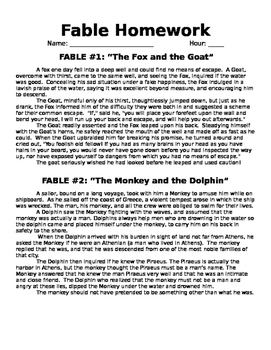Analyzing 2 Fables (Stories and Worksheets)