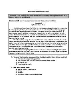Analyzing Characterization Formative Assessment