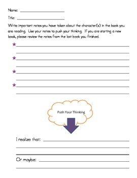 Reader's Workshop Mini Lesson Sheets