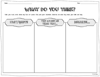 """""""What Do You Think?"""" – Graphic Organizer for Analyzing and"""