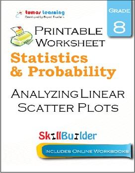 Analyzing Linear Scatter Plots Printable Worksheet, Grade 8