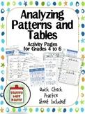 Analyzing Patterns and Tables: Beginning Algebra Skills Activity