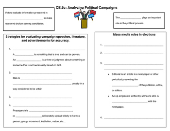 Analyzing Political Campaigns note page (CE.5c)