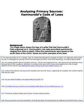 Analyzing Primary Sources: Hammurabi's Code (Babylon) and