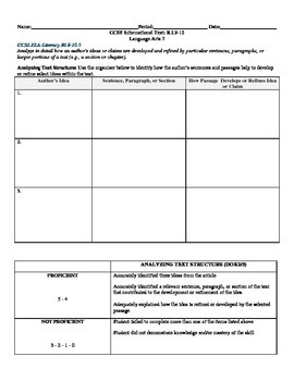 Analyzing Text Structure CCSS RI.9-10.5