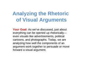 Analyzing Visual Arguments