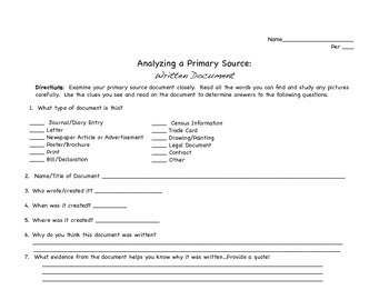 Analyzing a Primary Source-WORKSHEET