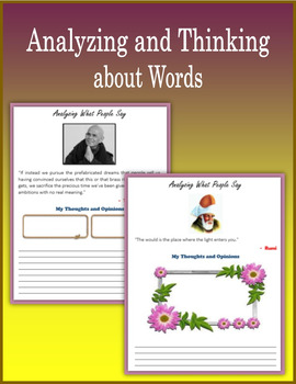 Analyzing and Thinking about Words