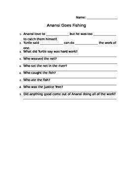 Anansi Goes Fishing Comprehension Sheet