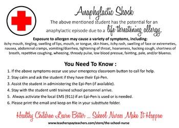Anaphylactic Shock Information Card- digital