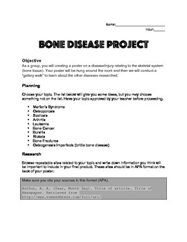 Anatomy & Physiology Bone Disease Poster Project