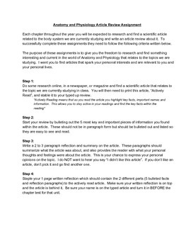 Anatomy and Physiology Current Event Article Review Assignment