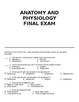 Anatomy and Physiology Final Exam