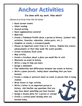 Anchor Activities Poster