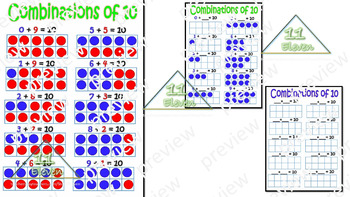 """Anchor Chart """" Combinations of 10"""" (English)"""
