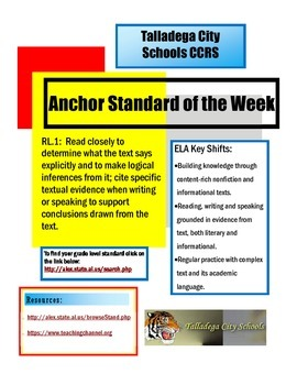 Anchor Standard of the Week AL ELA CCRS
