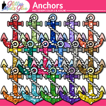Glitter Anchor Clip Art - {Great for Charts and Nautical C