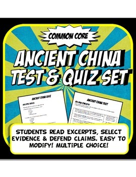 Ancient China Quiz and Test Common Core Writing and Literacy