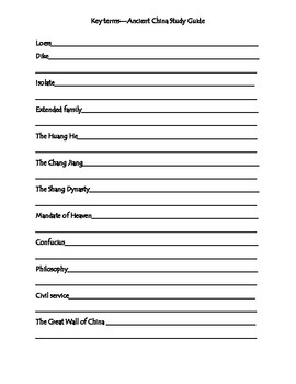 Ancient China Test Review Packet - 6th Grade