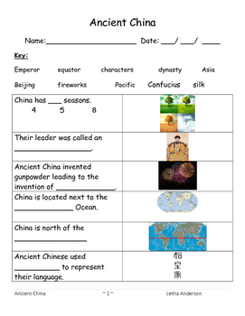 Ancient China Unit and Assessment S.S. 2.0 (Autism)