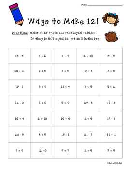 Ways to Make 12! Math Number Sense Activity--FREE!