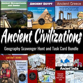 Ancient Civilization Geography Scavenger Hunt & Task Card
