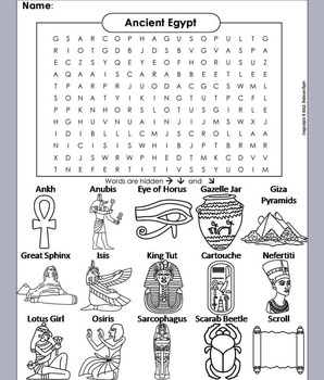Ancient Egypt Word Search Activity/ Foldable: King Tut, Sp