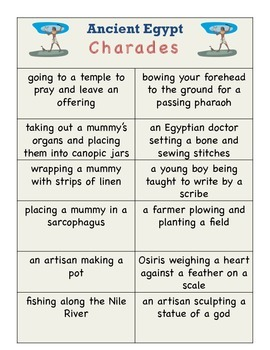 Ancient Egypt Charades